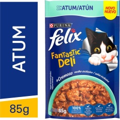Alimento para Gatos Adultos Atum Felix Fantastic Deli Purina 85g