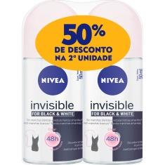 Desodorante Roll-On Invisible Black & White Clear Nivea 2 Unidades 50ml Cada