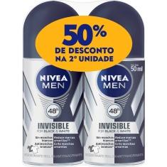 Desodorante Roll-On Invisible Black & White Nivea Men 2 Unidades 50ml Cada
