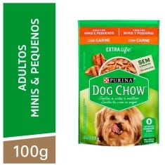Alimento para Cães Adultos Raças Minis e Pequenas Carne Purina Extra Life Dog Chow 100g
