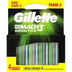 Carga para Aparelho de Barbear Mach3 Sensitive Gillette Leve 4 Pague 3