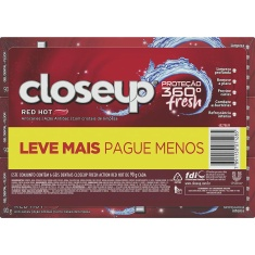 Gel Dental Red Hot Proteção 360 Fresh Closeup Pack com 6 Un