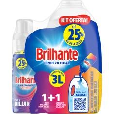 Lava Roupas Limpeza Total Líquido Brilhante 500ml+Garrafa para Diluição 3L
