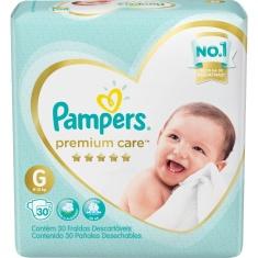 Fralda Descartável Infantil Premium Care G Pampers 30 Unidades