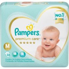 Fralda Descartável Infantil Premium Care M Pampers 34 Unidades