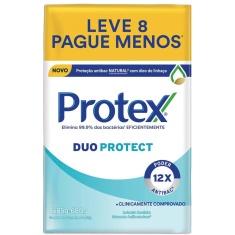 Sabonete Barra Antibacteriano Duo Protect Protex 85g 8 Unidades