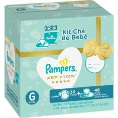 Kit Fralda Premium Care G Pampers 30 Un + Lenços Umedecidos Aloe Vera 48 Un