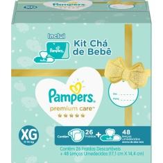 Kit Fralda Premium Care XG Pampers 26 Un + Lenços Umedecidos Aloe Vera 48 Un