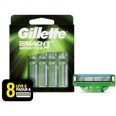 Carga para Aparelho de Barbear Mach3 Sensitive Gillette Leve 8 Pague 6
